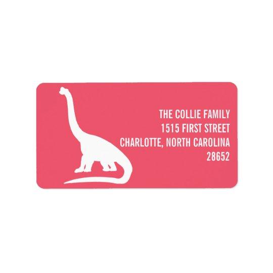 Etiqueta de endereço da silhueta do dinossauro
