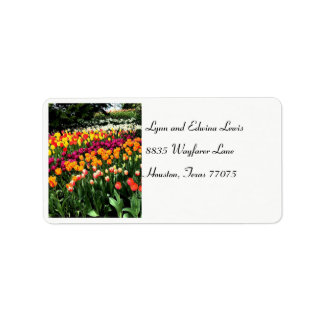 Etiqueta de endereço da tulipa