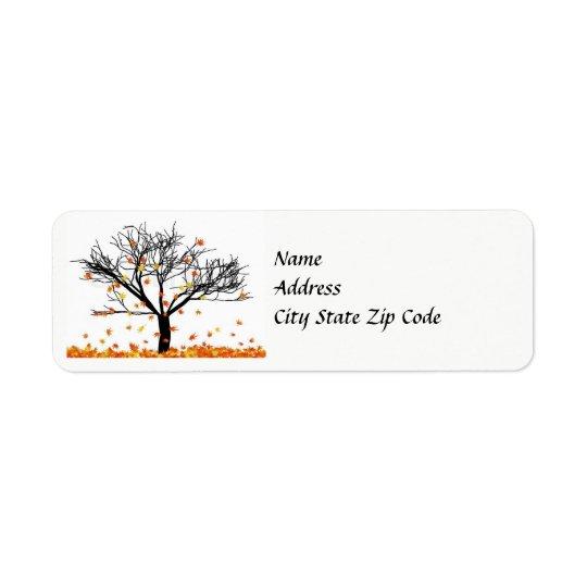 Etiqueta de endereço das folhas de outono
