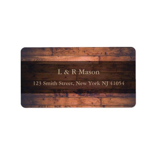 Etiqueta de endereço de madeira da bandeira