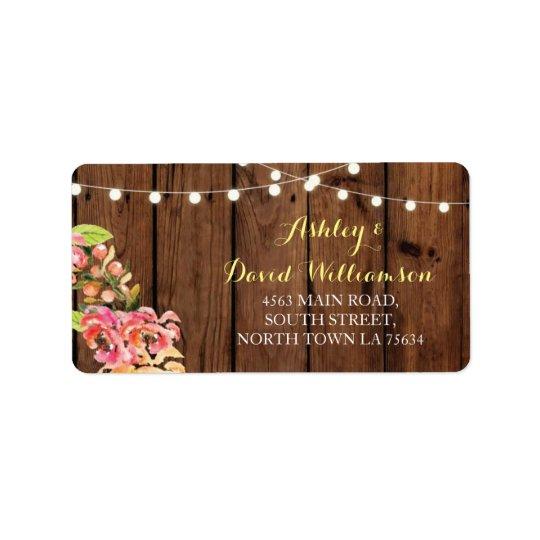 Etiqueta de endereço de madeira do casamento do