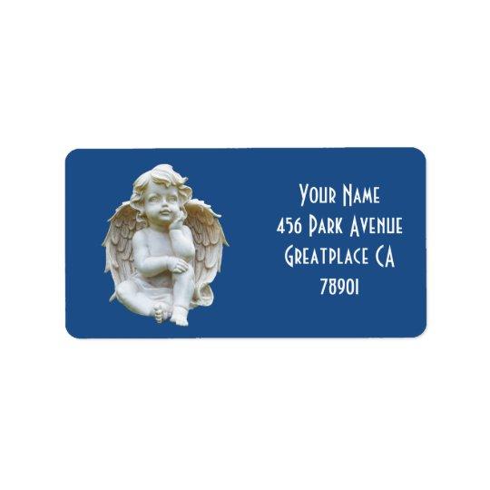 Etiqueta de endereço de mármore bonito do anjo do