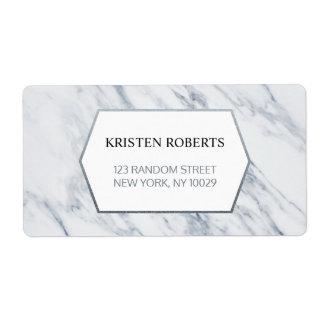 Etiqueta de endereço | de mármore moderna de prata