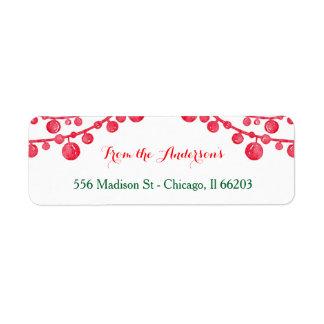 Etiqueta de endereço de suspensão do Natal dos