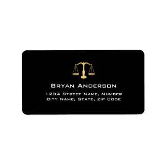 Etiqueta de endereço do advogado do advogado