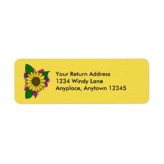 Etiqueta de endereço do buquê do girassol