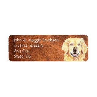 etiqueta de endereço do cão do golden retriever da