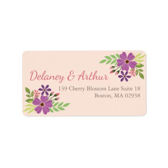 Etiqueta de endereço do casamento no tema da flor
