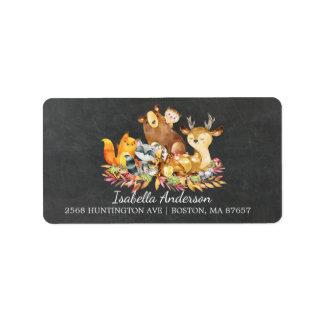 Etiqueta de endereço do chá de fraldas da floresta
