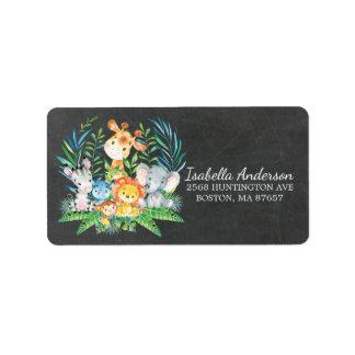 Etiqueta de endereço do chá de fraldas da selva do