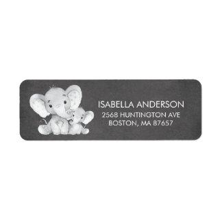 Etiqueta de endereço do chá de fraldas do elefante