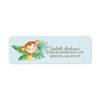 Etiqueta de endereço do chá de fraldas do macaco