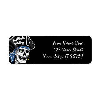 Etiqueta de endereço do crânio do pirata