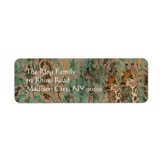 Etiqueta de endereço do damasco dos girafas de Ros