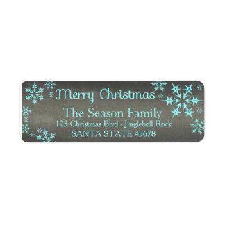 Etiqueta de endereço do feriado do floco de neve