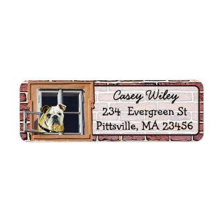 Etiqueta de endereço do fundo da janela do cão da