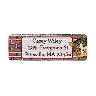 Etiqueta de endereço do fundo da parede de tijolo