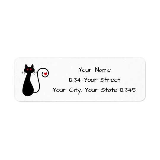 Etiqueta de endereço do gato do amor