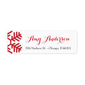 Etiqueta de endereço do Natal com floco de neve