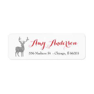 Etiqueta de endereço do Natal com os cervos de