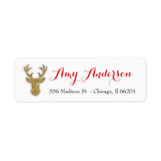 Etiqueta de endereço do Natal com os cervos do