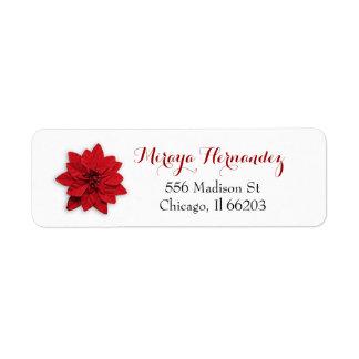 Etiqueta de endereço do Natal com poinsétia