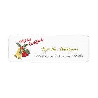 Etiqueta de endereço do Natal de Bels do feriado