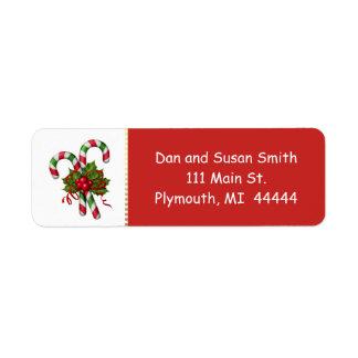 Etiqueta de endereço do Natal do bastão de doces