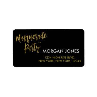 Etiqueta de endereço do partido do mascarada