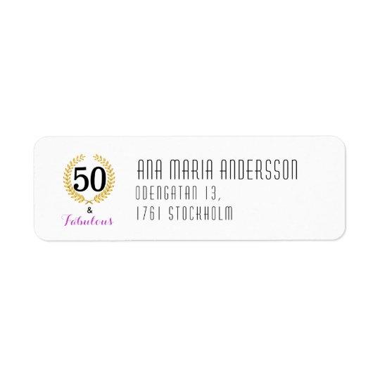 Etiqueta de endereço do remetente 50 e aniversário