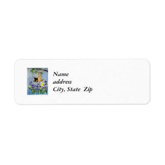 Etiqueta de endereço do remetente amarela do passa