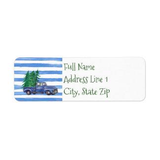Etiqueta de endereço do remetente azul do caminhão