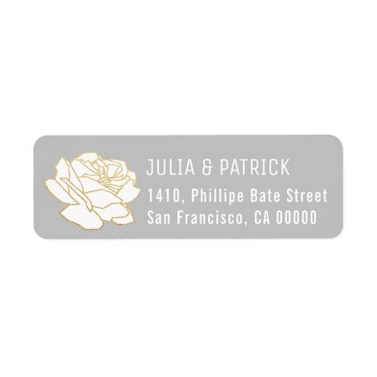 etiqueta de endereço do remetente cinzenta da flor