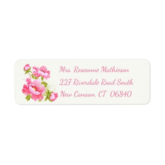 Etiqueta de endereço do remetente cor-de-rosa