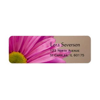 Etiqueta de endereço do remetente cor-de-rosa da