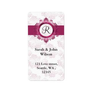 etiqueta de endereço do remetente cor-de-rosa do
