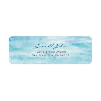 Etiqueta de endereço do remetente da cor de água
