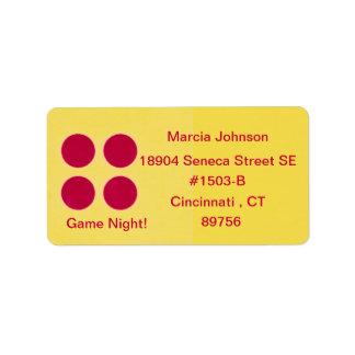 Etiqueta de endereço do remetente da noite do jogo