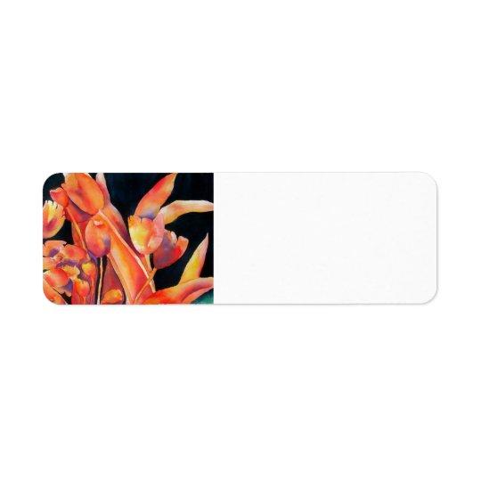 Etiqueta de endereço do remetente das tulipas das