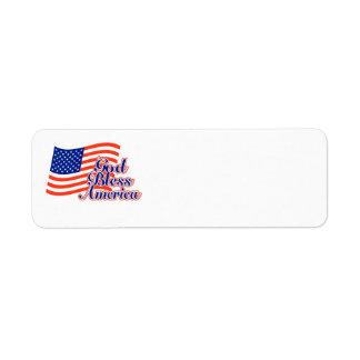 Etiqueta de endereço do remetente de América dos