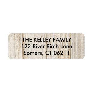 Etiqueta de endereço do remetente de madeira