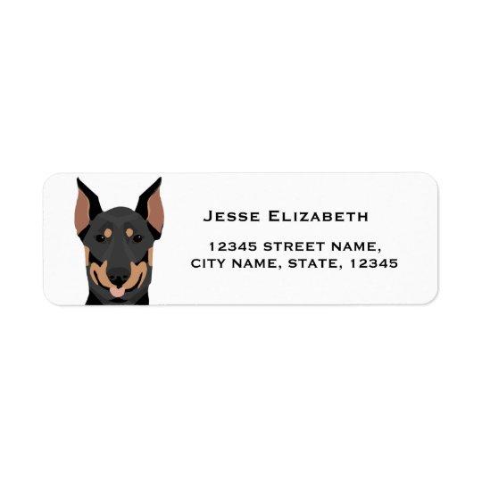 etiqueta de endereço do remetente do doberman -