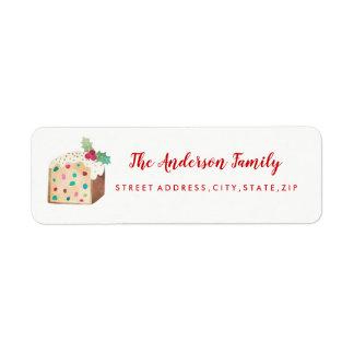 Etiqueta de endereço do remetente do Natal do bolo