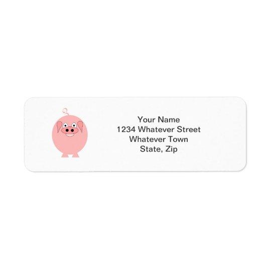 Etiqueta de endereço do remetente do porco