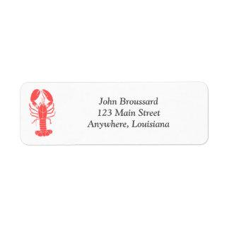Etiqueta de endereço do remetente dos lagostins