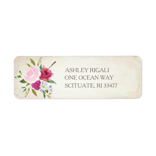 Etiqueta de endereço do remetente floral