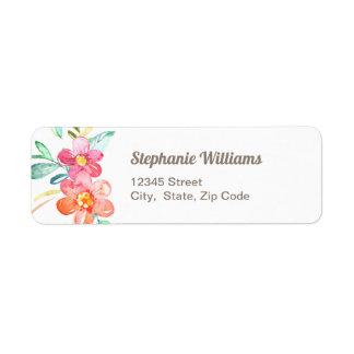 Etiqueta de endereço do remetente floral colorida