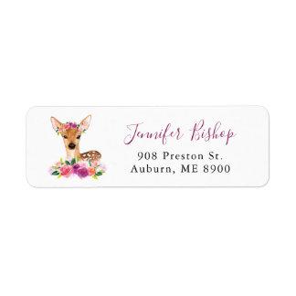 Etiqueta de endereço do remetente floral da jovem