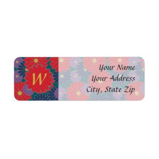 Etiqueta de endereço do remetente floral da queda