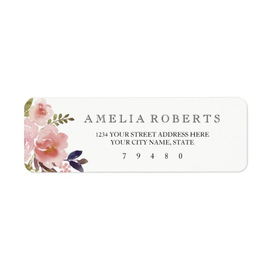 Etiqueta de endereço do remetente floral das